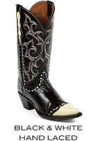 Black & White Hand Laced Boots