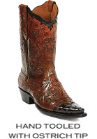 Hand Tooled With Ostrich Tip Boots