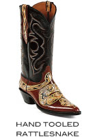 Hand Tooled Rattlesnake Boots